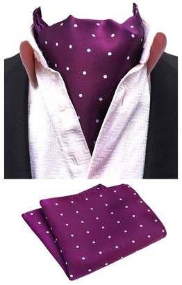 0d199045eba26 MOHSLEE Men Purple Polka Dot Silk Cravat Tie Woven Casual Ascot  Handkerchief Set