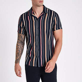 River Island Navy stripe short sleeve revere shirt