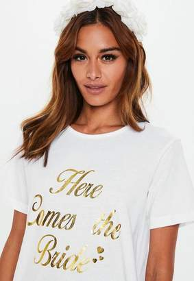 Missguided White Here Comes The Bride Oversized Night T Shirt