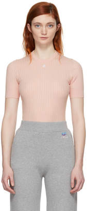 Courreges Pink Ribbed Mock Neck Sweater