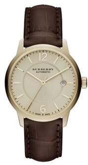 Gold & Brown Alligator Leather-Strap Watch