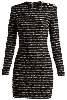 Balmain Tweed Mini Dress - Womens - Black White