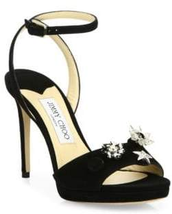 Jimmy Choo Electra Crystal-Button Suede Ankle-Strap Sandals