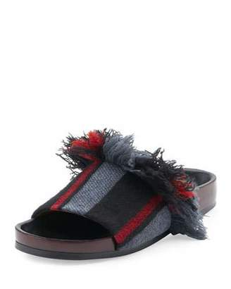 Chloé Kerenn Patterned Flat Slide Sandals, Black/Charcoal