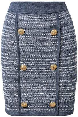 Balmain Jersey-trimmed Button-embellished Tweed Mini Skirt