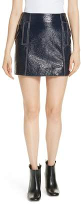 BA&SH Vara Crinkle Faux Patent Leather Miniskirt