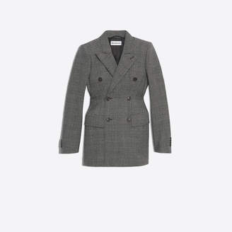 Balenciaga Prince of Wales wool Hourglass double breasted jacket