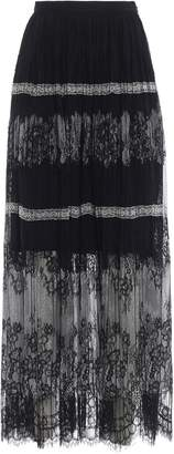 Ermanno Scervino Pleated Lace Maxi Skirt