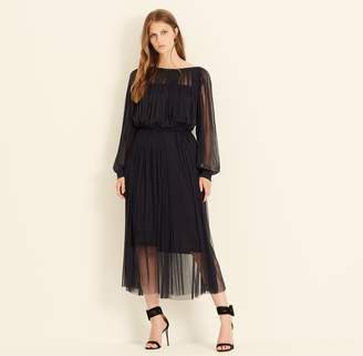 Amanda Wakeley Charcoal Tulle Marta Midi Dress