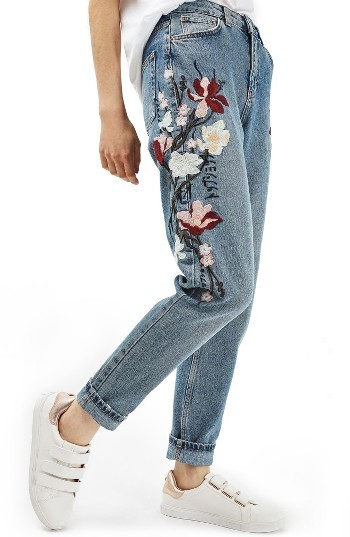 Topshop Women's Topshop Mom Embroidered Jeans