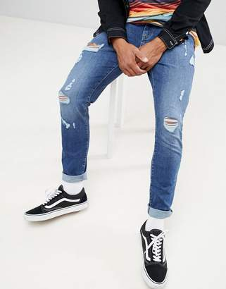Co Brooklyn Supply Brooklyn Supply skinny fit jeans in indigo with thigh rip
