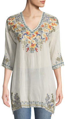 Johnny Was Plus Size Kalea V-Neck Embroidered Tunic