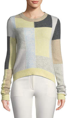ADAM by Adam Lippes Patchwork Crewneck Cashmere Sweater