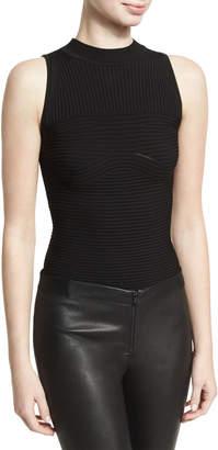 Cushnie Sleeveless Ribbed Bodysuit, Black