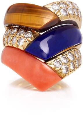 Van Cleef & Arpels Jill Heller Vintage Vintage Set-Of-Three 18K Gold Multi-Stone Rings