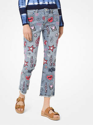MICHAEL Michael Kors Embroidered Cropped Jeans