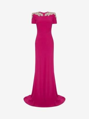 Alexander McQueen Crystal Flower Embroidered Evening Dress