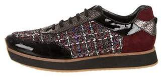 Aquatalia Tweed-Paneled Low-Top Sneakers