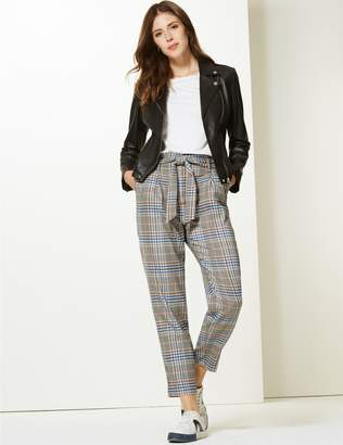 Marks and Spencer Checked Tapered Leg Trousers