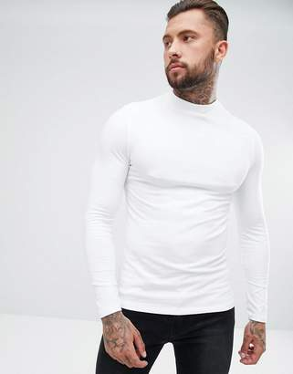 Asos DESIGN muscle fit long sleeve t-shirt with turtleneck in white