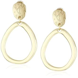 Anne Klein Tone Pave Drop Hoop Clip-on Earrings