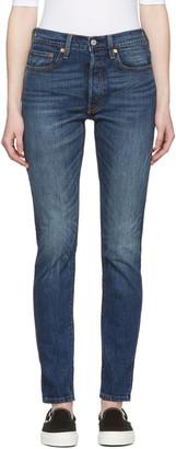 Levi's Blue 501 Skinny Jeans $100 thestylecure.com
