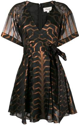Temperley London printed short sleeve wrap dress