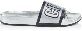 Jimmy Choo REY/F Silver and Black Logo Metallic Rubber Slides