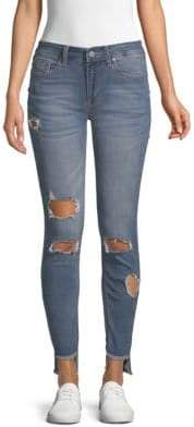 Kenneth Cole Mid-Rise Distressed Skinny Jeans