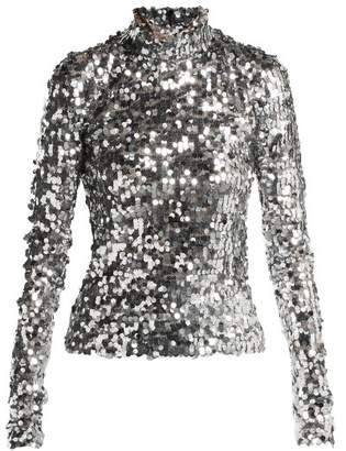 MM6 MAISON MARGIELA Sequined Mesh Top - Womens - Silver
