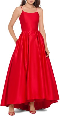 Betsy & Adam High/Low Satin Ballgown