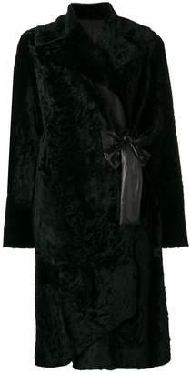 Drome belted fur coat