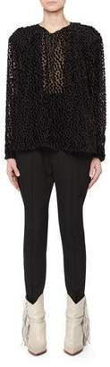 Isabel Marant Midway Long-Sleeve Dot Devore Velvet Tunic Blouse
