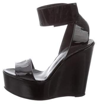 Ruthie Davis Patent Leather Ankle Strap Wedges