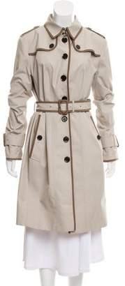 Burberry Leather Trim Coat