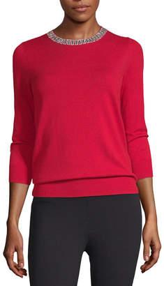 Liz Claiborne 3/4 Sleeve Jewel Neck Pullover Sweater