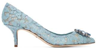 Dolce & Gabbana Bellucci Crystal Embellished Lace Pumps - Womens - Light Blue