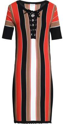 Claudie Pierlot Lace-Up Striped Intarsia-Knit Mini Dress