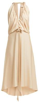 Chloé V Neckline Gathered Satin Midi Dress - Womens - Light Brown