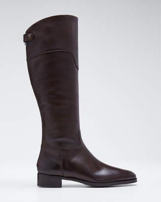 Gravati Perforated-Cuff Flat Leather Boots