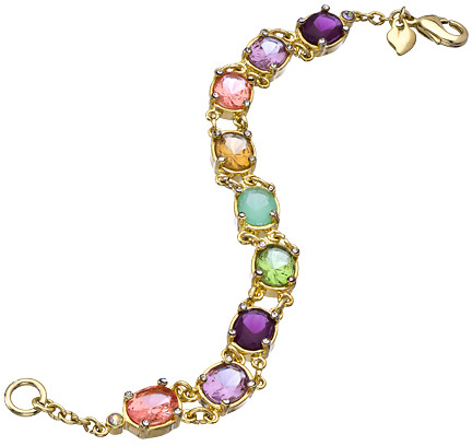 Carolee Gold and Crystal High Class Color Multicolored Oval Flex Bracelet