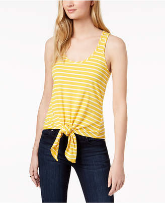 Maison Jules Striped Front-Tie Tank Top, Created for Macy's