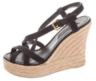 Ralph Lauren Leather Platform Wedge Sandals
