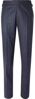 Kingsman Blue Slim-Fit Pinstriped Wool Suit Trousers