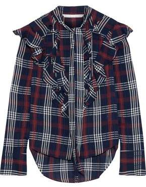 Veronica Beard Finley Tie-Neck Ruffled Checked Cotton-Blend Gauze Blouse
