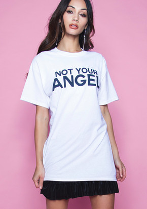 11a15c1d Missy Empire Missyempire Rome White Not Your Angel Slogan T Shirt