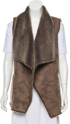 Velvet Faux Fur Open Front Vest