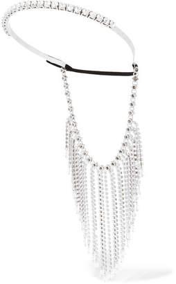 Miu Miu Fringed Silver-tone, Crystal And Bead Headband