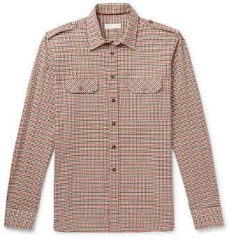 Etro Slim-Fit Checked Cotton-Twill Shirt - Brown