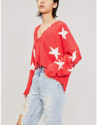 Wildfox Couture Star-patterned cotton jumper